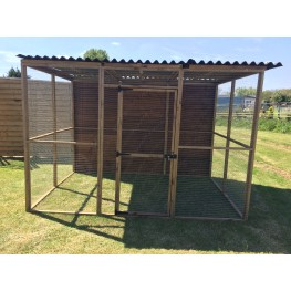 Animal run / enclosure 6ft x 9ft with a waterproof roof and one full boarded side.