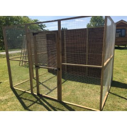 Animal run / enclosure with 1 full boarded side and a door - 6FT x 9FT