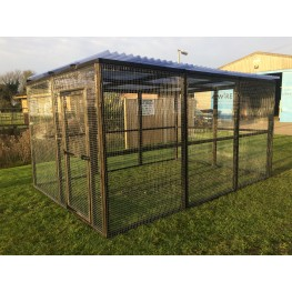 12ft x 8ft Black Animal Run Clear Waterproof Roof