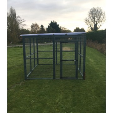 Dog Run 10ft x 8ft 16G Animal Run In Blue Waterproof Roof
