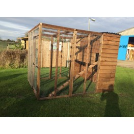 Cat Run With Raised Sleeping Box 6FT x 6FT