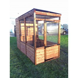 Luxury Cat Run With Raised Sleeping Box 4ft x 8ft Black Roof.