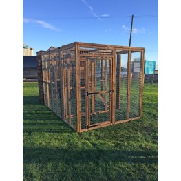 Cat Run With Raised Sleeping Box 6FT x 9FT Internal safety door